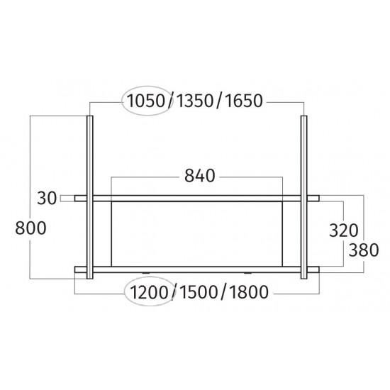 Wave Design 1052.00 FRAME midden  - 120 cm wandmodel  RVS - 2 x 4,2 W dimbare LED 2700 Kelvin