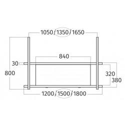 Wave Design 1052.01 FRAME midden  - 150 cm wandmodel  RVS - 4 x 4,2 W dimbare LED 2700 Kelvin