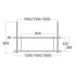 Wave Design 1052.02 FRAME midden  - 180 cm wandmodel  RVS - 4 x 4,2 W dimbare LED 2700 Kelvin