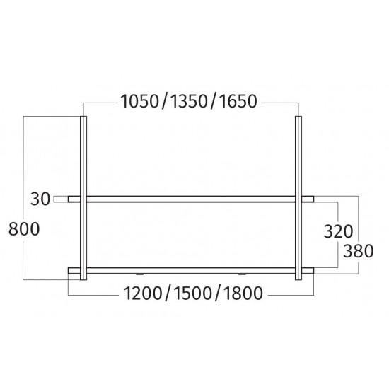 Wave Design 1052.20 FRAME midden  - 120 cm wandmodel  zwart - RAL 9017 mat - 2 x 4,2 W dimbare LED 2700 Kelvin