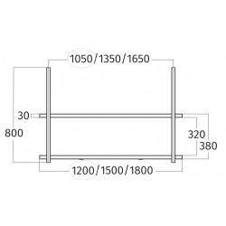 Wave Design 1052.70 FRAME motorloos - 120 cm wandmodel  RVS - 3 x 4,2 W dimbare LED 2700 Kelvin