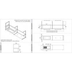 Wave Design 1053.23 FRAME links - 240 cm kleur naar keuze - mat/glanzend - 4 x 4,2 W dimbare LED 2700 Kelvin