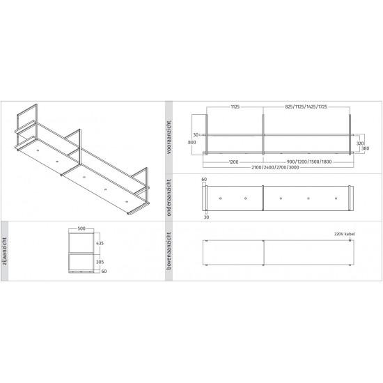 Wave Design 1055.86 FRAME motorloos - 300 cm zwart - RAL 9017 mat - 5 x 4,2 W dimbare LED 2700 Kelvin