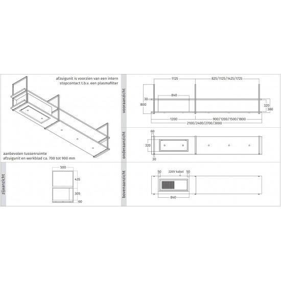 Wave Design 1055.03 FRAME links - 210 cm RVS - 4 x 4,2 W dimbare LED 2700 Kelvin