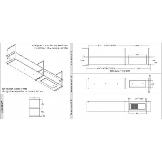 Wave Design 1056.03 FRAME rechts - 210 cm RVS - 4 x 4,2 W dimbare LED 2700 Kelvin