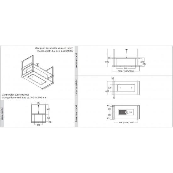 Wave Design 2052.25 FRAME midden  - 180 cm eilandmodel kleur naar keuze - mat/glanzend - 4 x 4,2 W dimbare LED 2700 Kelvin