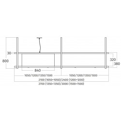 Wave Design 2053.00 FRAME links - 210 cm eilandmodel RVS - 4 x 4,2 W dimbare LED 2700 Kelvin