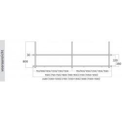 Wave Design 2053.70 FRAME motorloos - 150 cm eilandmodel RVS - 4 x 4,2 W dimbare LED 2700 Kelvin