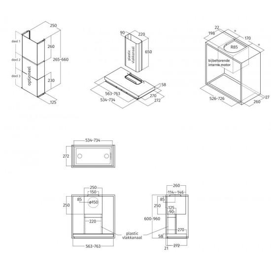 Airone I-002-AIDA inbouwunit - 56 cm - RVS-glas - interne motor