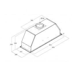Airone I-002-CARUSO inbouwunit - 87 cm - RVS - interne motor