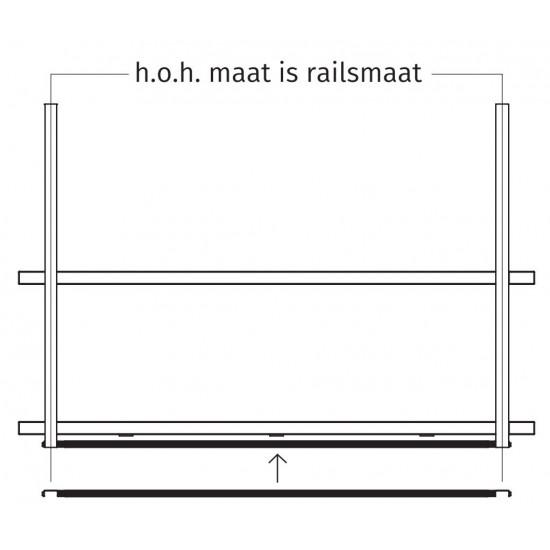Wave Design 9992.23 rails 1350 mm - RAL 9017 zwart
