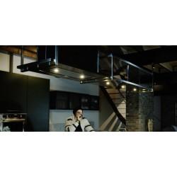 Wave Design 2055.24 FRAME links - 300 cm eilandafzuigkap zwart - RAL 9017 mat - interne motor - LED verlichting