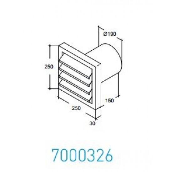 Wave Design 7000326 Afvoerkanalen rond 200 Buitenmuurrooster rvs, incl. aansluitingskanaal Ø 190 mm