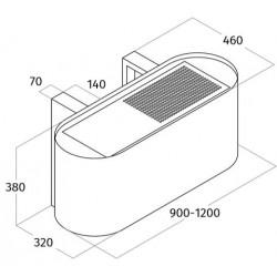 Wave Design 1109.03 wandschouw afzuigkap 120 cm - RVS - vaste interne motor - LEDlampen dimbaar
