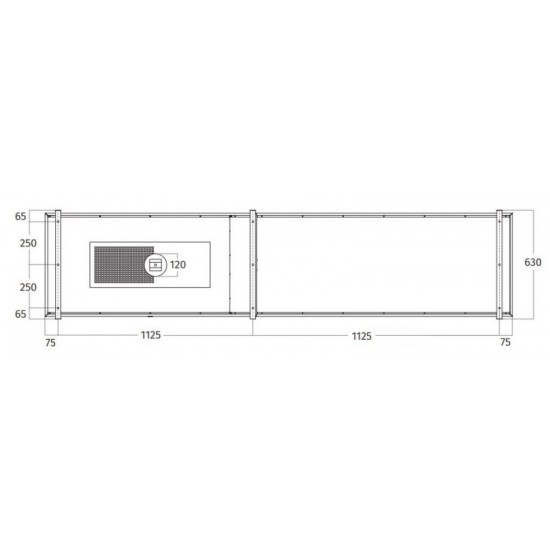 Wave Design 2055.00 FRAME links - 240 cm eilandafzuigkap RVS - interne motor - LED verlichting