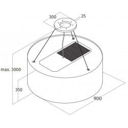 Wave Design 2620.01 afzuiglamp 90 cm - RVS - vaste interne motor - LEDDISC