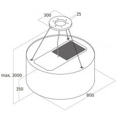 Wave Design 2620.20 afzuiglamp 80 cm - wit RAL 9016 mat - vaste interne motor - LEDDISC