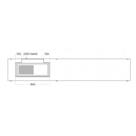 Wave Design 1055.00 FRAME links - 240 cm wandafzuigkap RVS - interne motor - LED verlichting