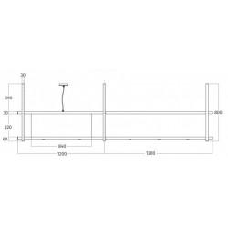 Wave Design 2055.20 FRAME links - 240 cm eilandafzuigkap zwart - RAL 9017 mat - interne motor - LED verlichting