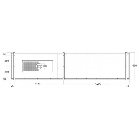 Wave Design 2055.22 FRAME links - 270 cm eilandafzuigkap zwart - RAL 9017 mat - interne motor - LED verlichting