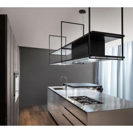 Wave Design 1055.20 FRAME links - 240 cm wandafzuigkap zwart - RAL 9017 mat - interne motor - LED verlichting
