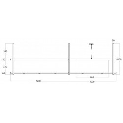 Wave Design 2056.21 FRAME rechts - 240 cm eilandafzuigkap - kleur naar keuze - mat/glanzend - interne motor - LED verlichting