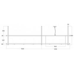 Wave Design 2056.22 FRAME rechts - 270 cm eilandafzuigkap zwart - RAL 9017 mat - interne motor - LED verlichting
