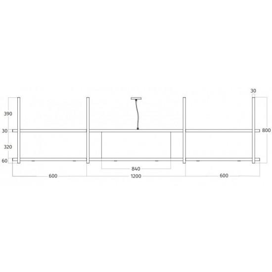 Wave Design 2057.00 FRAME midden - 240 cm eilandafzuigkap RVS - interne motor - LED verlichting