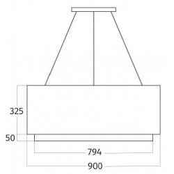 Wave Design 2630.20 afzuiglamp 90 cm - wit - RAL 9016 mat - vaste interne motor - LEDDISC