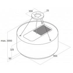 Wave Design 2630.40 afzuiglamp 90 cm - geschikt voor lederen bekleding - RVS - vaste interne motor - LEDDISC