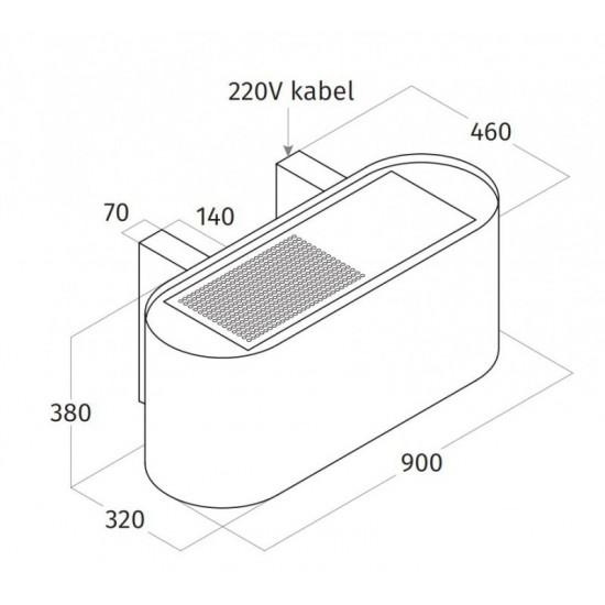 Wave Design 1119.41 90 cm wandafzuigkap - geschikt voor lederen bekleding - kleur naar keuze - interne motor recirculatie - LED