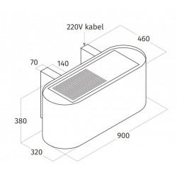 Wave Design 1119.40 90 cm wandafzuigkap - geschikt voor lederen bekleding - RVS - interne motor recirculatie - LED