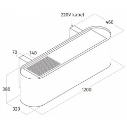 Wave Design 1119.01 120 cm wandafzuigkap - RVS - interne motor recirculatie - LED