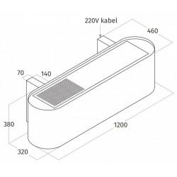Wave Design 1119.43 120 cm wandafzuigkap - geschikt voor lederen bekleding - RVS - interne motor recirculatie - LED