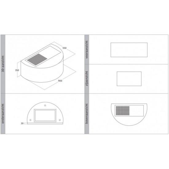 Wave Design 1620.21 wandafzuigkap 90 cm - kleur naar keuze - interne motor recirculatie - LED