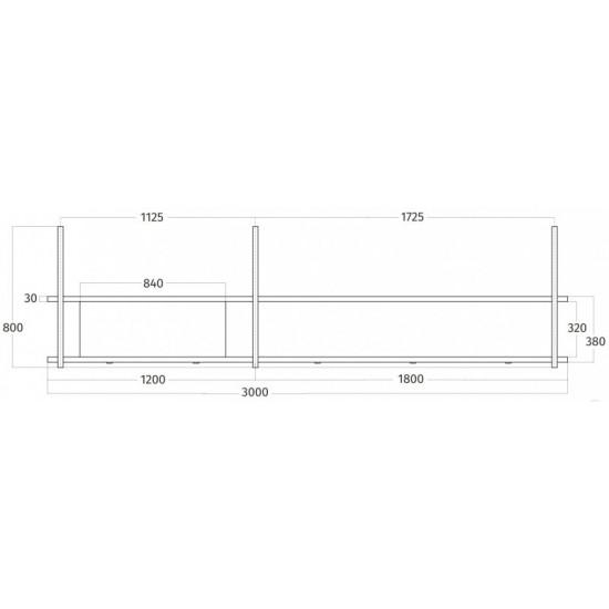 Wave Design 1055.25 FRAME links - 300 cm wandafzuigkap kleur naar keuze - mat/glanzend - interne motor - LED verlichting