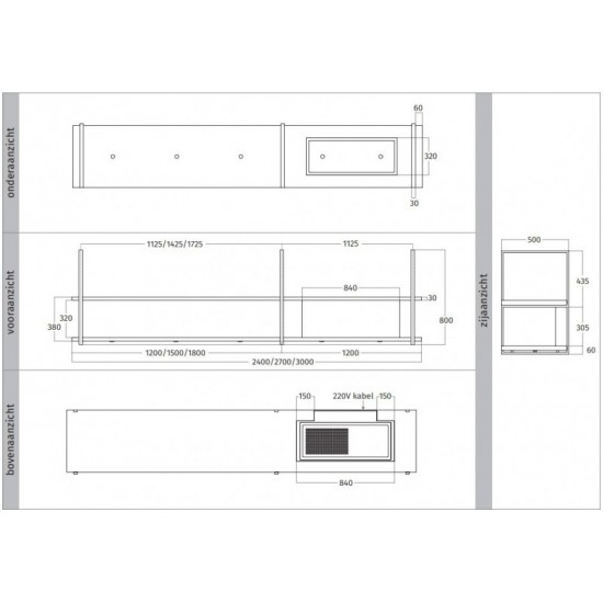 Wave Design 1056.02 FRAME rechts - 300 cm wandafzuigkap RVS - interne motor - LED verlichting