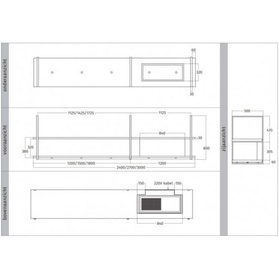 Wave Design 1056.25 FRAME rechts - 300 cm wandafzuigkap kleur naar keuze - mat/glanzend - interne motor - LED verlichting