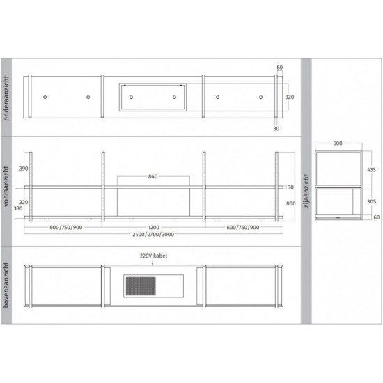 Wave Design 1057.23 FRAME midden - 270 cm wandafzuigkap kleur naar keuze - mat/glanzend - interne motor - LED verlichting