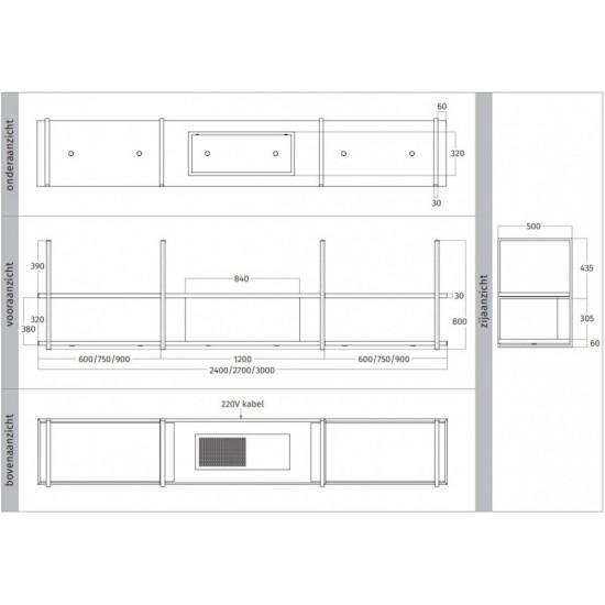 Wave Design 1057.02 FRAME midden - 300 cm wandafzuigkap RVS - interne motor - LED verlichting
