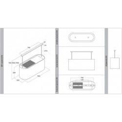 Wave Design 2119.20 - 90 cm eilandafzuigkap wit RAL 9016 mat - interne motor - LED verlichting