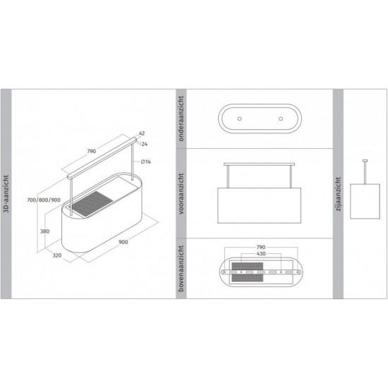 Wave Design 2119.21 - 90 cm eilandafzuigkap kleur naar keuze mat/glanzend - interne motor - LED verlichting