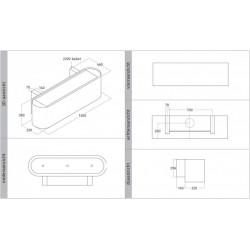 Wave Design 1119.33 120 cm wandafzuigkap - wit RAL 9016 mat - motor met afvoer naar buiten - LED