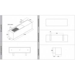 Wave Design 1120.44 120 cm wandafzuigkap - geschikt voor lederen bekleding - kleur naar keuze - interne motor recirculatie - LED