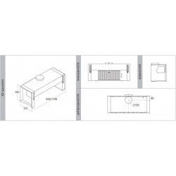 Wave Design 3757.11 Integraal/tussenbouw afzuigkap 120 cm - RVS - interne motor - LED verlichting