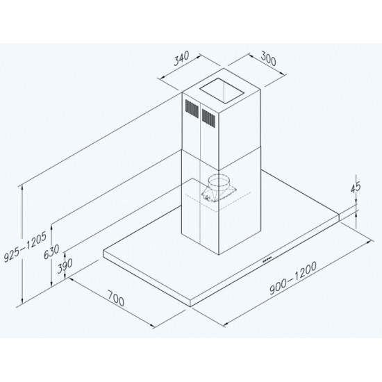 Wave Design 2363.02 Eilandschouw 120 cm - rvs - halogeen - interne motor